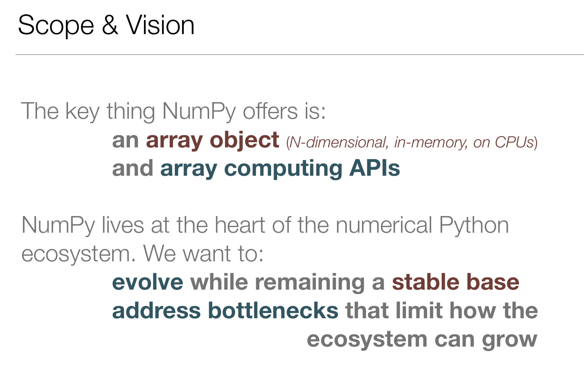 My view on the scope of and vision for NumPy